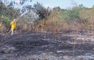 Bomberos de la SSP apagan un voraz incendio en un terreno baldío, en Tetiz