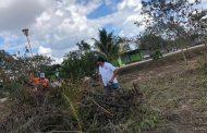 Protección civil elimina la maleza de la preparatoria No.09 de Oxkutzcab, para evitar incendios
