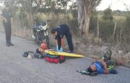 Falla su moto y derrapan, en el tramo Panabá- Loché: hay dos heridos
