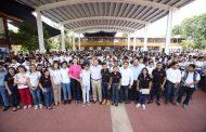 Estudiantes del CBTis 120 estrenan techado en la cancha deportiva